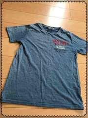 青/半袖/バックプリント有/Tシャツ/men's/Mサイズ