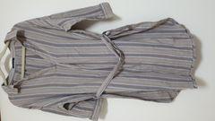 美品  ストライプ柄  ベルト付きロング丈シャツ