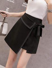 ハイウエスト ラップ巻スカート風 インナー付(XL寸・黒)
