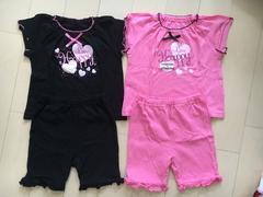 双子ちゃんに〜上下半袖パジャマ80�p黒、ピンク