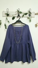 ニッセン☆サラリと薄手 青紫カットソー♪