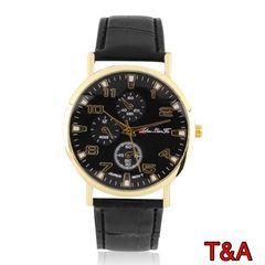 腕時計 時計 アナログ レザー 革ベルト 金フレーム ウォッチ 黒