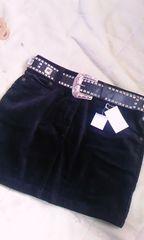セシル黒ベロアミニスカートS新品ベルト付き