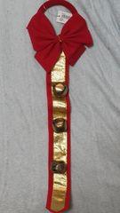 X'mas赤とゴールドの鈴付き素敵リース未使用美品タグ付必見