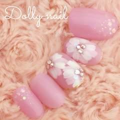 みぢょ!ショートオーバル春色可愛いピンクパープルお花ネイル