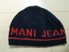 ARMANI JEANS◆アルマーニデカロゴニット帽◆帽子