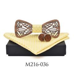 イエロー 蝶ネクタイ 木製 。