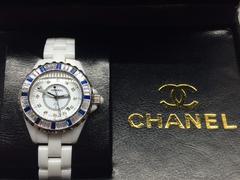 CHANEL シャネル J12 ブルー ダイヤ ベゼル レディース ホワイト