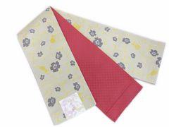 小粋半巾帯半幅帯細帯ベージュ地可憐花と猫ねこ 洗える着物&小紋に