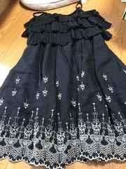 axes  femme*高級感溢れる刺繍入り黒ワンピM- L size送料無料