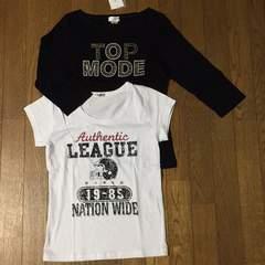 ロゴTシャツ2枚セット ホワイト(半袖)&ブラック(7分丈)M 綿100%