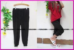 新作◆大きいサイズ3Lブラック◆裾リブ使い◆カジュアルパンツ