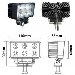 12V24V兼用/2個セット!18W-白色LEDワークライト 作業灯 投光器