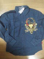 ☆新品[サンマルイチ]三日月に福蛙ツイル長袖シャツ スカジャン好きにも