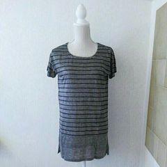 新品タグ付き 涼しい麻100% ボーダーチュニックTシャツ M