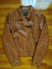 美品ドスチDOSCHフード付きレザージャケットブラウン茶色合成皮革