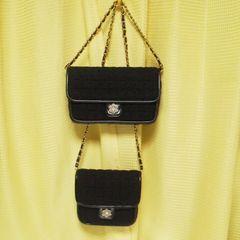 レアSamantha Thavasa黒ツイードチェーンバック2点セレブ-姫系-正規品
