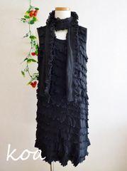 【新品】ストール付き☆シフォンプリーツワンピース《黒/3Lサイズ》結婚式