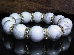 ハウライト16ミリ金ロンデル波形金ロンデル数珠
