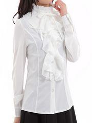シャツ ブラウス フリルブラウス 長袖 立ち襟 XLサイズ ホワイト