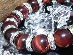 12ミリ§レッドタイガーアイ銀ロンデル赤虎目石数珠
