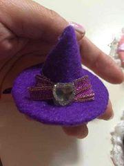 紫魔女ハットハートストーンが可愛いパッチンどめハロウィンに