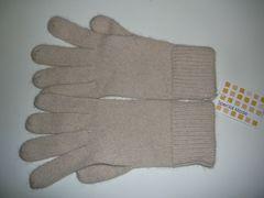 高品質ニット手袋ウール混薄ベージュ