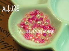 穴なしパール ピンク系×ホワイト2〜4ミリMIX レジン100粒