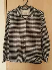 長袖チェックシャツ*ブラック×ホワイト