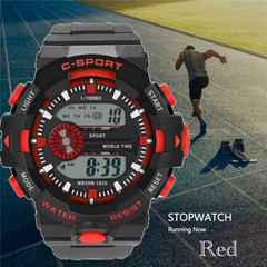 スポーツ腕時計 LED デジタル 腕時計 ミリタリー レッド