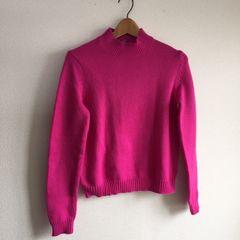 ◆UNIQLO/ユニクロ◆Wヒートテックニットハイネックセーター★濃いめピンクM♪