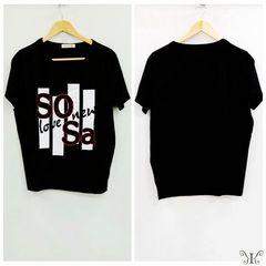 728-303272大きいサイズ☆ラインストーンプリントTシャツ☆BK