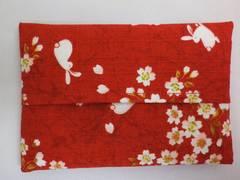 和小物 和柄ティッシュケース桜うさぎ赤