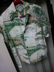 KAMEHAMEHAカメハメハ)USAハワイ製サンセット ビーチデザイン淡色アロハシャツ