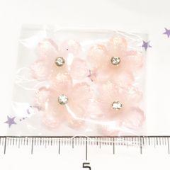 21*�@スタ*デコパーツ4個*オーロラ微粒子ラメストーン付桜*薄ピンク*9