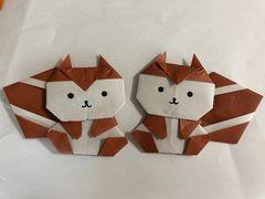 ハンドメイド  折り紙  秋  リス 2匹  壁面飾り 幼稚園 施設