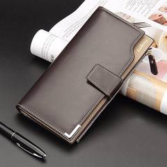 高品質 レザー  二つ折り 長財布 札 小銭 カード 名刺入れ