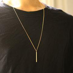 大メタルバー 1ミリ ゴールド ロング ネックレス 70cm