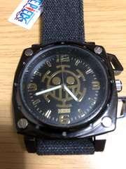 ワンピース スクエア腕時計 デニム ベルト(黒)