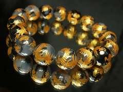 金運アップに期待??金彫皇帝龍ドラゴンアゲート12mm数珠ブレス