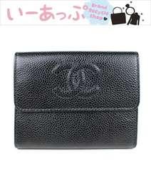 シャネル キャビアスキン 三つ折り財布 黒 CHANEL 極美品 g770
