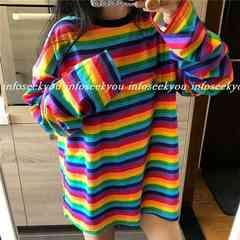 LL大きいサイズ/カラーボーダーTシャツ