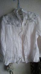 シンプル♪白♪花柄♪刺繍♪七分シャツ♪綿100
