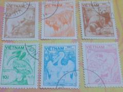 ベトナム切手*6枚*動物*コラージュなどに