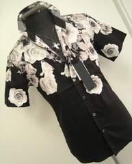 送料無料■614 1.5万新品Lトルネードマート半袖シャツ薔薇 黒地