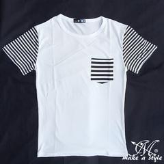 ポケット&スリーブ ボーダー柄 半袖Tシャツ B系HIPHOP TEE 197L