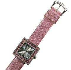 ラインストーン入りラメピンク 腕時計