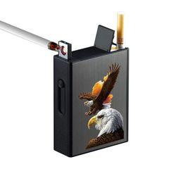 タバコケース 20本収納 黒 鷹