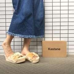 Kastaneカスタネ★厚底ファーサンダル/ベージュ★美品