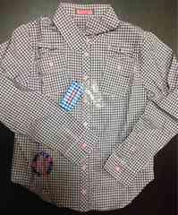 新品☆Sサイズ☆ベティーズブルー ピンク黒チェック長袖シャツ